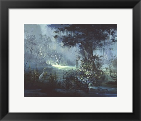 Framed Egret In The Shadows Print