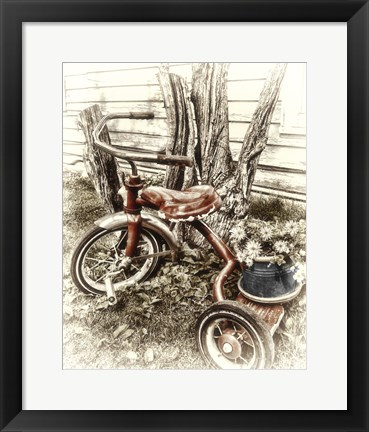 Framed Red Tricycle Print