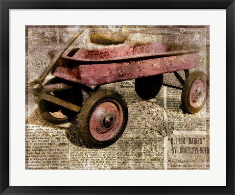 Framed Red Wagon Print