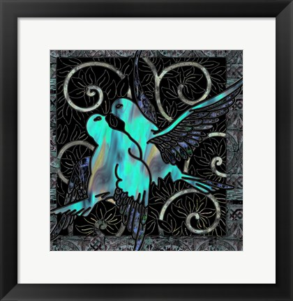 Framed Aqua Lovebirds Print