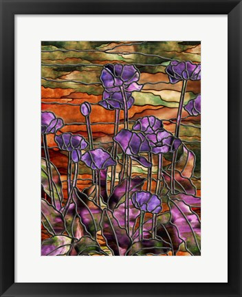 Framed Stained Glass Poppies Print