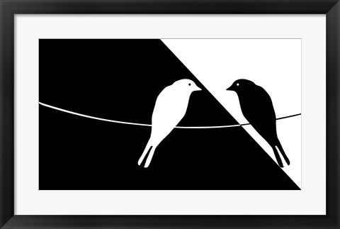 Framed Black and White Birds Print