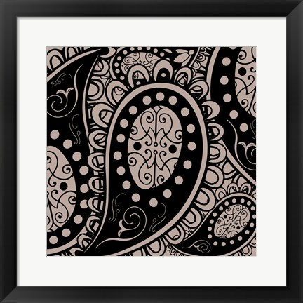 Framed Paisley Party Beige Print