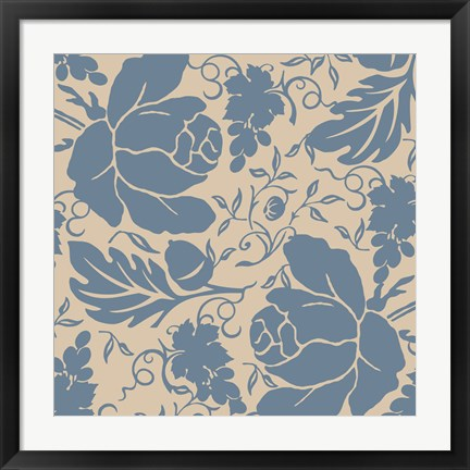 Framed Grapes and Buds Blue and Taupe Print