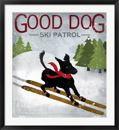 Framed Good Dog Ski Patrol Print