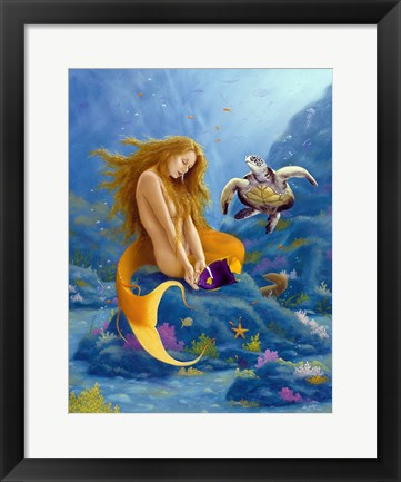 Framed Mermaid and Turtle 2 Print