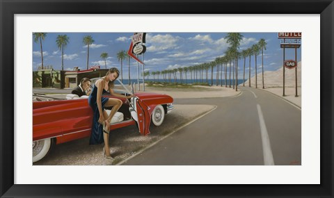 Framed Red Convertible Print