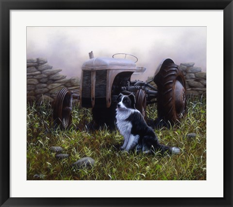 Framed Minding the Tractor Print