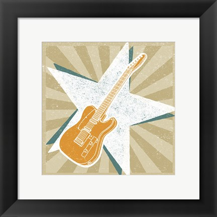 Framed Guitar No. 1 Carnival Style Print