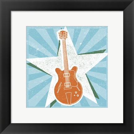 Framed Guitar No. 2 Carnival Style Print