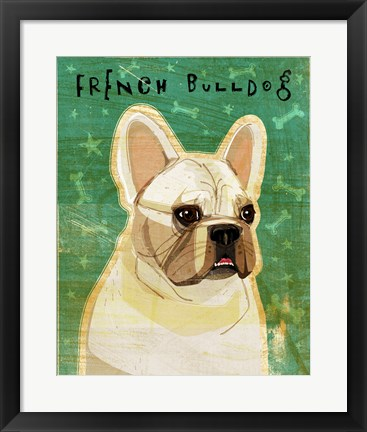 Framed French Bulldog - White Print