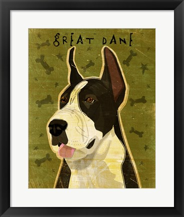 Framed Black Great Dane 1 Print