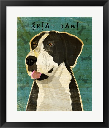 Framed Black Great Dane 2 Print
