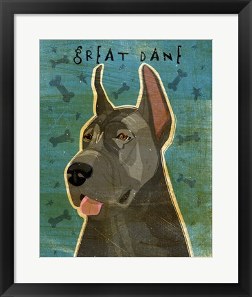 Framed Great Dane Blue Print