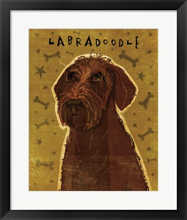 Framed Chocolate Labradoodle Print