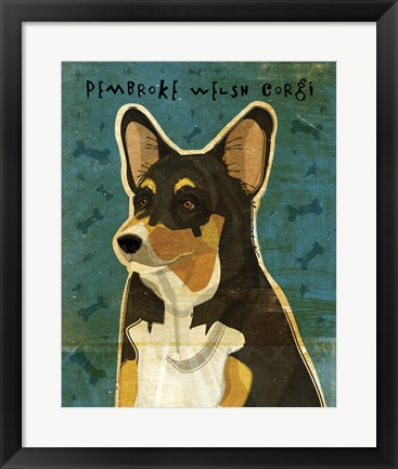 Framed Pembroke Welsh Corgi - Tri-Color Print