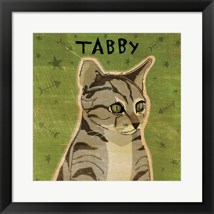 Framed Tabby (grey) Print