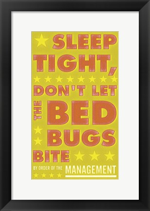 Framed Sleep Tight, Don't Let the Bed Bugs Bite (green & orange) Print