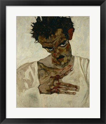 Framed Egon Schiele  Self-Portrait With Bent Head, 1912 Print