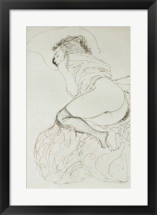 Framed Liegender Halbakt Nach Links - Female Nude, 1912-1913 Print