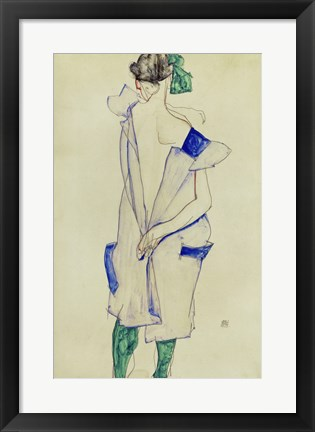 Framed Standing Girl In Blue Dress And Green Stockings, 1913 Print