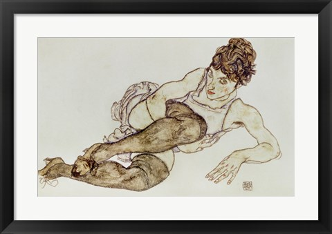 Framed Reclining Woman With Black Stockings, 1917 Print