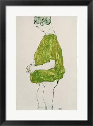 Framed Woman Standing with Hands Clasped, 1914 Print