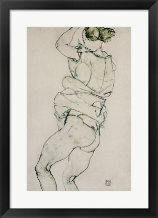 Framed Standing Semi-Nude With Raised Left Arm, 1914 Print