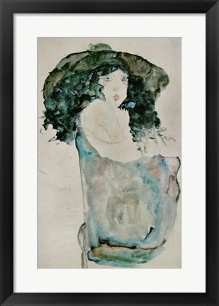 Framed Girl With Blue-Black Hair And Hat, 1911 Print
