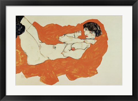 Framed Reclining Female Nude On Red Drape, 1914 Print