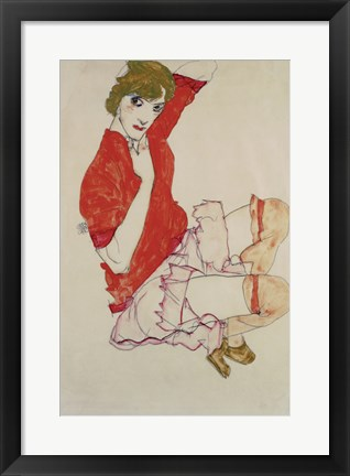 Framed Wally In Red Blouse With Raised Knees, 1913 Print