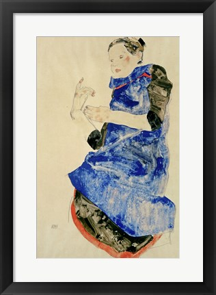 Framed Girl In Blue Apron, 1912 Print