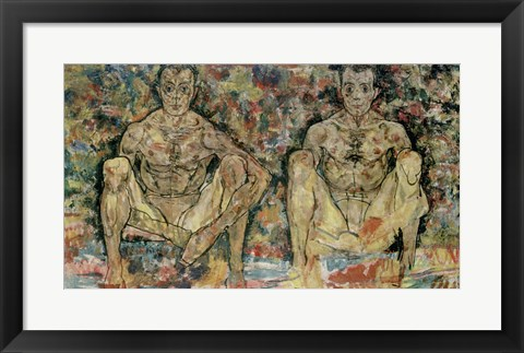 Framed Two Squatting Men  (Double Self-Portrait), 1918 Print