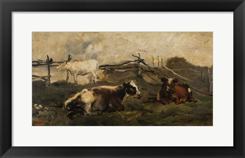 Framed Landscape With Cows Print