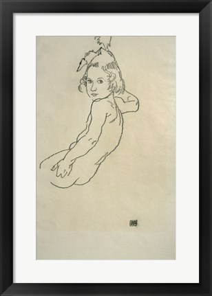 Framed Nude Child, 1917 Print