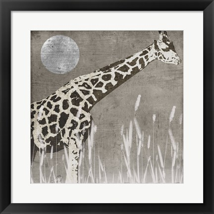 Framed Moon Giraffe Print