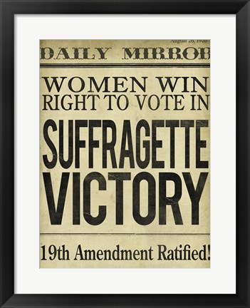 Framed Women's Right to Vote Print