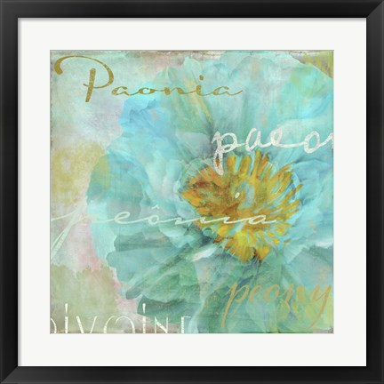 Framed Blue Peony Light Print