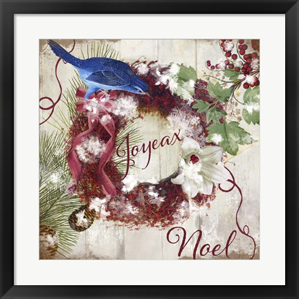 Framed Bluebird Christmas I Print