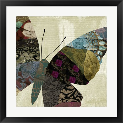 Framed Butterfly Brocade IV Print