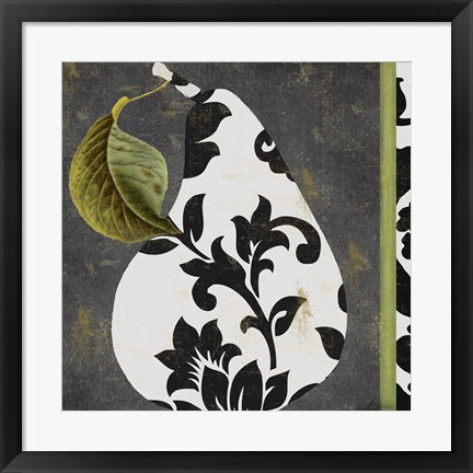 Framed Decorative Pear I Print