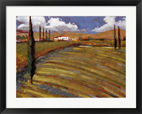 Framed Pastoral Fields I Print