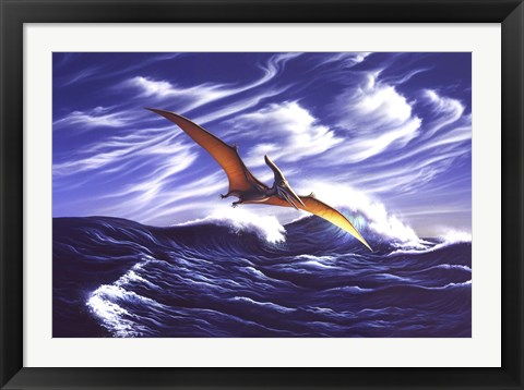 Framed Pteranodon Soars Over Waves Print