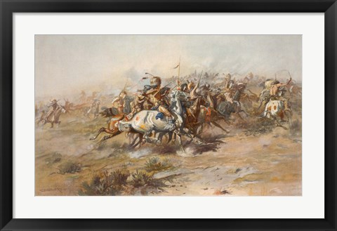 Framed Battle of Little Bighorn Print