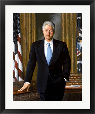 Framed Bill Clinton in White House Print