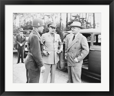 Framed Harry Truman with General Eisenhower and Hickey Print
