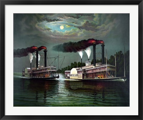 Framed Steamboats Robert E Lee and Natchez Print