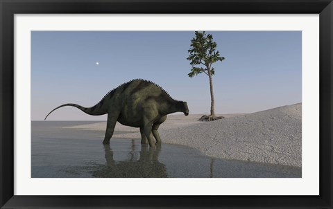 Framed Brachytrachelopan Walking along Water Print