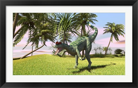 Framed Dilophosaurus Hunting in a Field Print