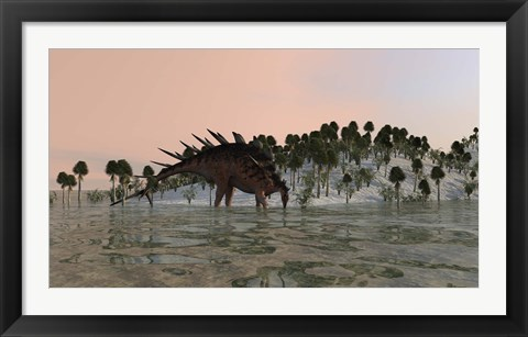 Framed Kentrosaurus Drinking Print
